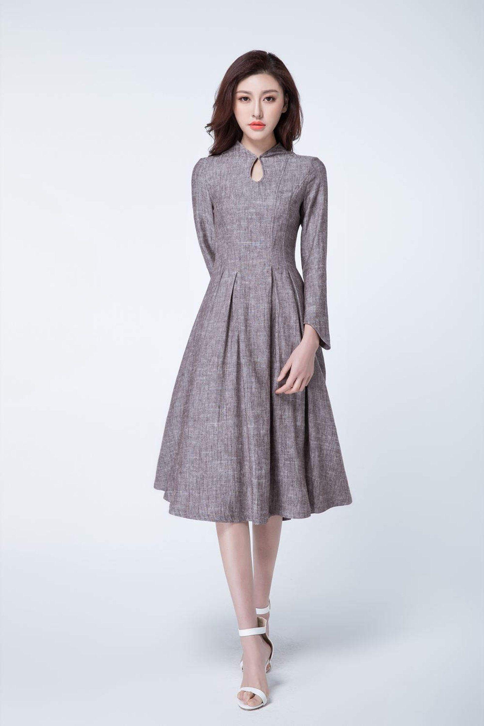 Retro dress linen, spring dress women, party dress, evening dress