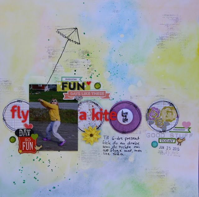 Saras pysselblogg - Sara Kronqvist: Fly a kite Scrapbook layout, background with watercolours