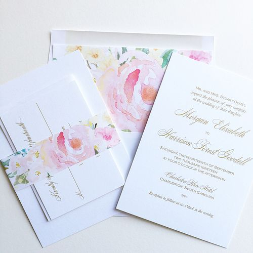 English Garden Wedding Invitation With Belly Band