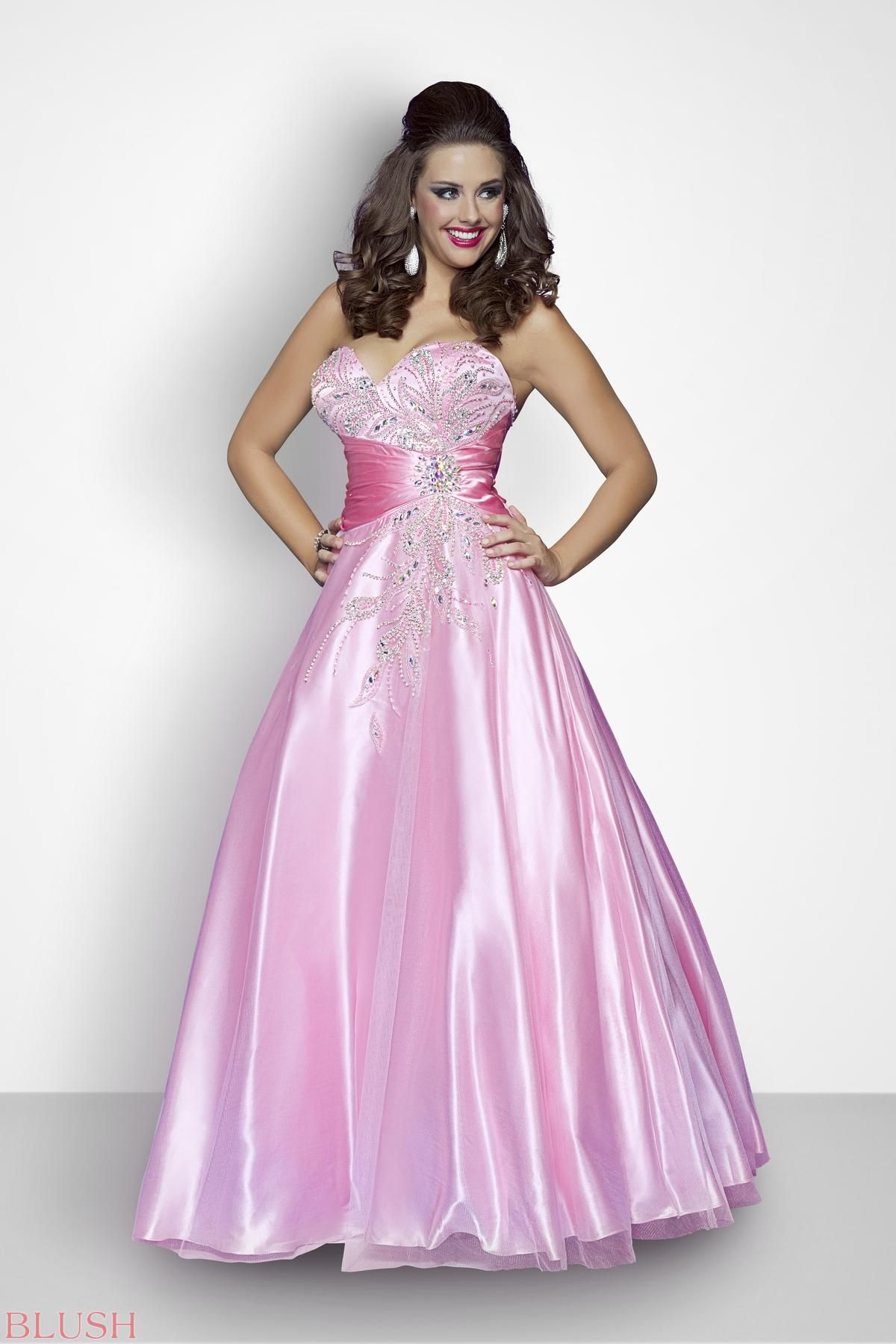 Sexy jeweled ballgown! Silver beads highlight the bust as a satin ...