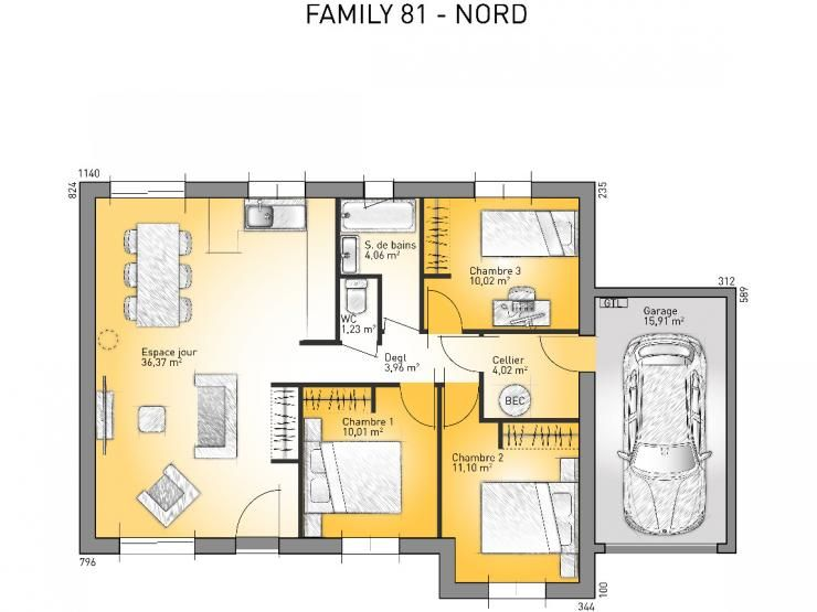 Plans de maison mod le family maison moderne de plain for Plan maison modele