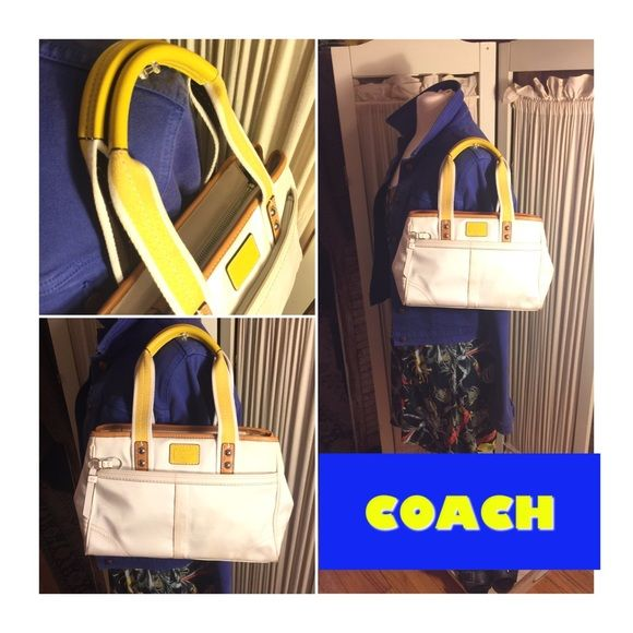 "COACH OFF WHITE NYLON/YELLOW LEATHER SHOULDER BAG SPRING/SUMMER FUN COACH BAG IN SILK FEEL NYLON WITH YELLOW LEATHER HANDLES/ACCENTS/TRIM. STRAP DROP 5.5"". BAG IS 8"" H by 14"" L by 5"" Deep. INTERIOR KHAKI COTTON CLOTH/NYLON. EXCELLENT/ CLEAN INTERIOR EXCEPT FOR .5"" SMUDGE NYLON TOP INTERIOR ( SHOWN). TOP ZIPPER CLOSE. EXTERIOR ZIPPER COMPARTMENT. OVERALL GREAT PRE-OWNED CONDITION. ** WEAR TO NOTE PICTURED** BOTTOM/SOME FRONT /BACK PARTS WITH MINOR SMUDGES/NOT STAINS OR RIPS. A CLOTH WITH…"