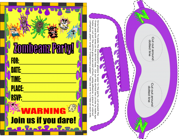 """A zombeanz party invitation downloadable PDF that is printable on a letter size, white cardstock paper. The invitation comes with a pair of paper zombeanator glasses for the guest to make and wear to a zombeanz themed party. Zombeanz are characters in the book, """"Zombeanz Invade SillyBeanzLand"""". A matching envelope printable is included with simple instructions for putting it together."""