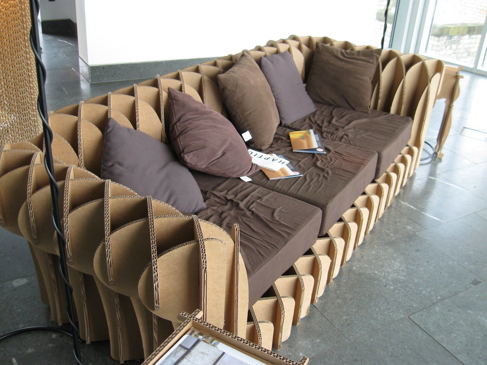 Comfortable cardboard chair designs - Comfortable Cardboard Sofa With Soft Decoraive Cushions