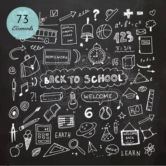 Chalk Hand Drawn School Clip Art Education Elements And Symbols Chalkboard Clipart Doodle Collection Vector Eps Png Files Digital Download In 2020 School Chalkboard Art Chalkboard Doodles How To Draw Hands