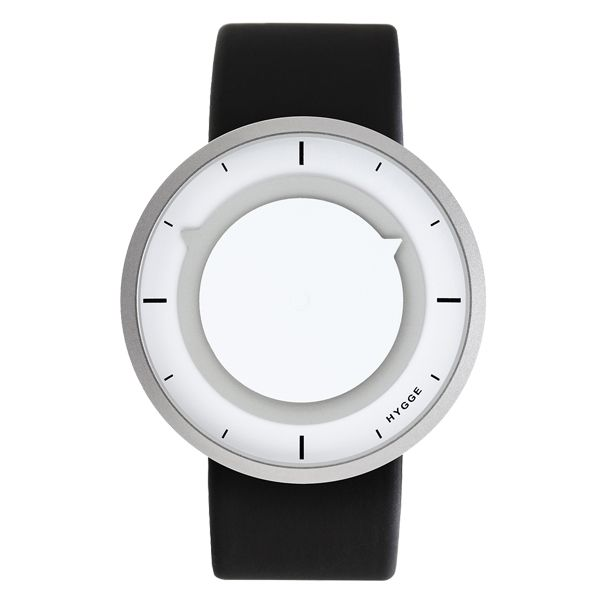 "3012 watch, grey-white  The stylish Hygge 3012 series is designed by Mats Lönngren. His aim was to create a ""frameless"" design where the case is reduced to its minimum, leaving only the two round time indicators visible from the front view. The round discs provide a recognizable look and give this watch both character and functionality. Color and contrast are used to highlight the display and they make the 3012 series easy to use."