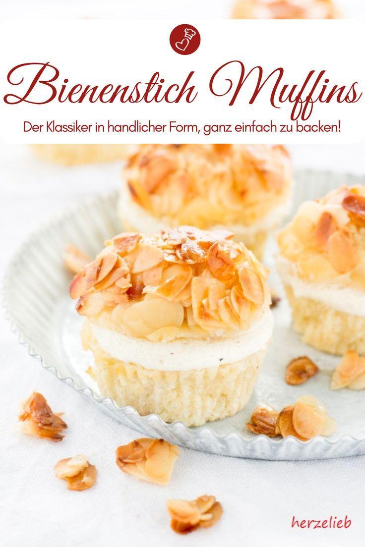 Rezept für leckere Bienenstich-Muffins - kleine Kuchen #tortegeburtstag