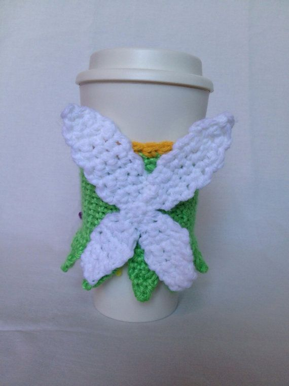 Tinkerbell inspired coffee cup cozy by YOmomknits on Etsy | My etsy ...