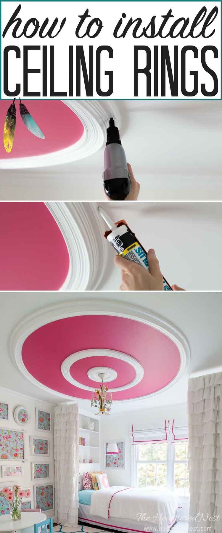 Info's : GREAT tutorial and ceiling design ideas!! How to install ceiling rings, or round ceiling molding for a high end look on a small budget! THIS IS GORGEOUS! I may try this DIY project :)