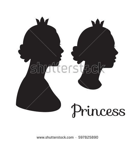 vector set silhouette of princess woman head black illustration of