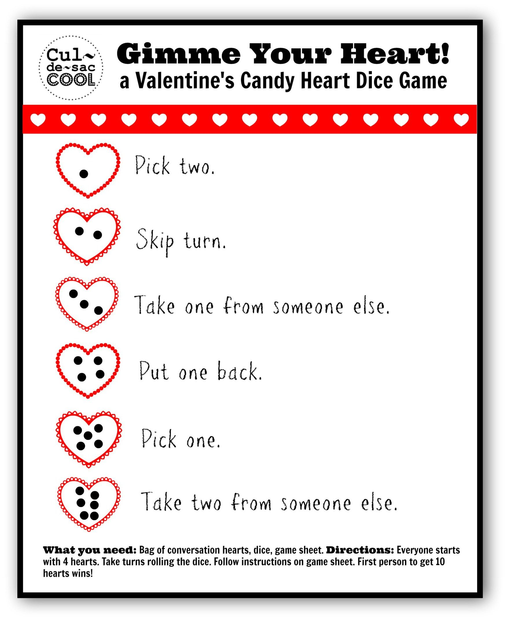 Gimme Your Heart Valentines Candy Heart Dice Game 2 Valentines Day
