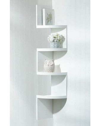 Zig Zag White 4 Tier Corner Shelf Shelves Corner Shelves Corner Wall Shelves