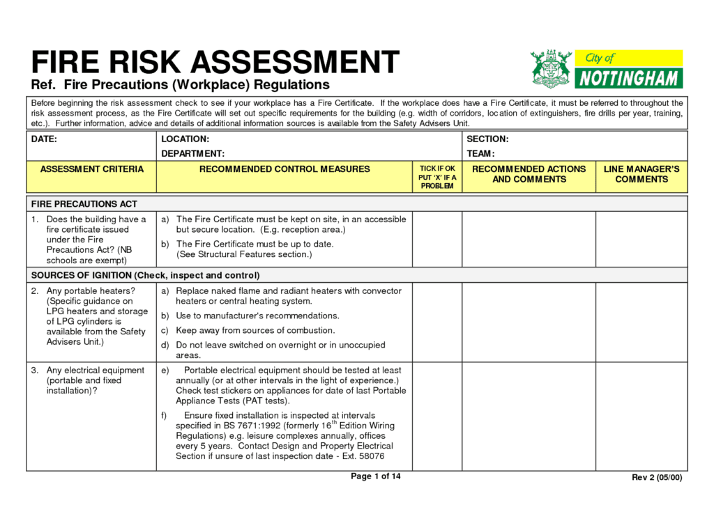 4+ Fire Risk Assessment Forms Word Templates Fire risk