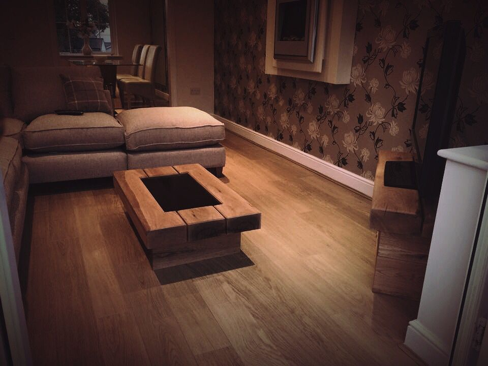 3 beam chunky oak coffee table with galaxy black granite centre