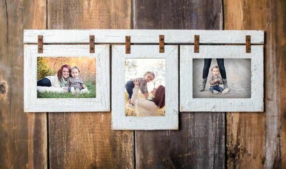2 Barnwood Collage White Frame 3 4x6 Multi Opening Frame Rustic