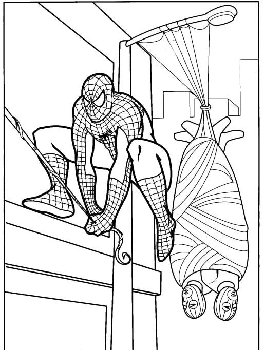 Spiderman Caught Two Robbers Coloring Pa… | Character ...