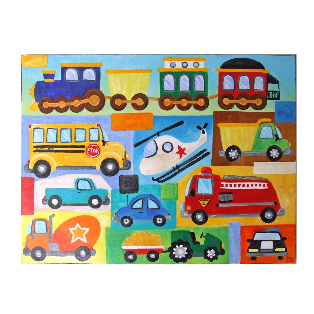 Custom kids wall art transportation collage custom 24x18