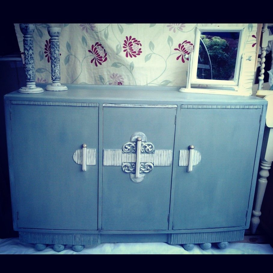 Beautiful E,Gomme Sideboard brought back to life and a snip at £125 AS Duck Egg Blue / / /Original circa 1930 Stunning Centre piece to any room