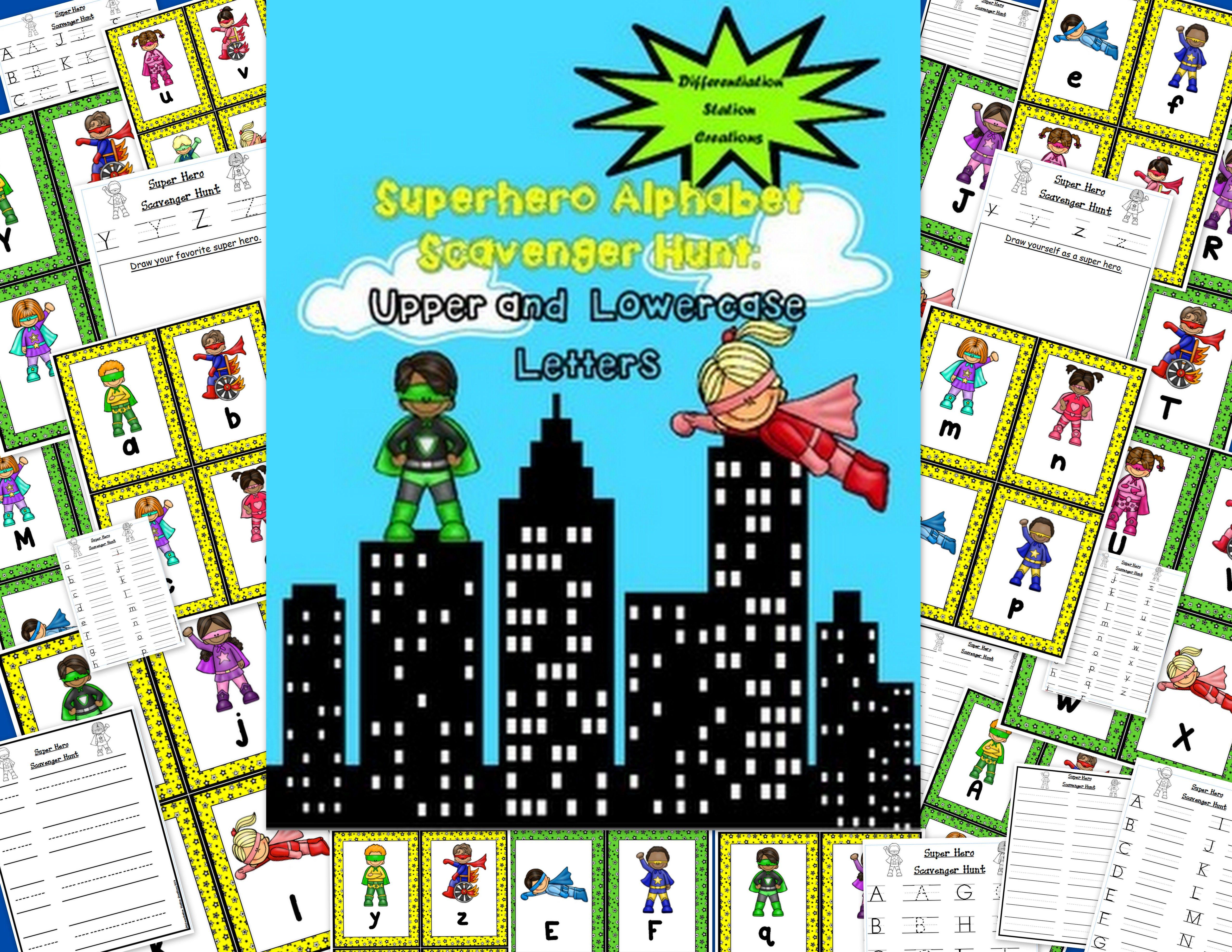 Super Hero Alphabet Scavenger Hunt