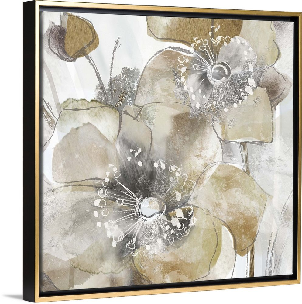 Taupe Spring Poppy Ii Framed Flower Art Art Web Gallery Wrap Canvas