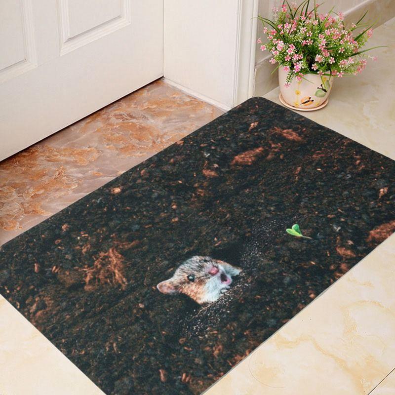 Printed Waterproof Bathroom Rug Kit Non Slip Bath Mats Floor Carpet Ped Pad Large
