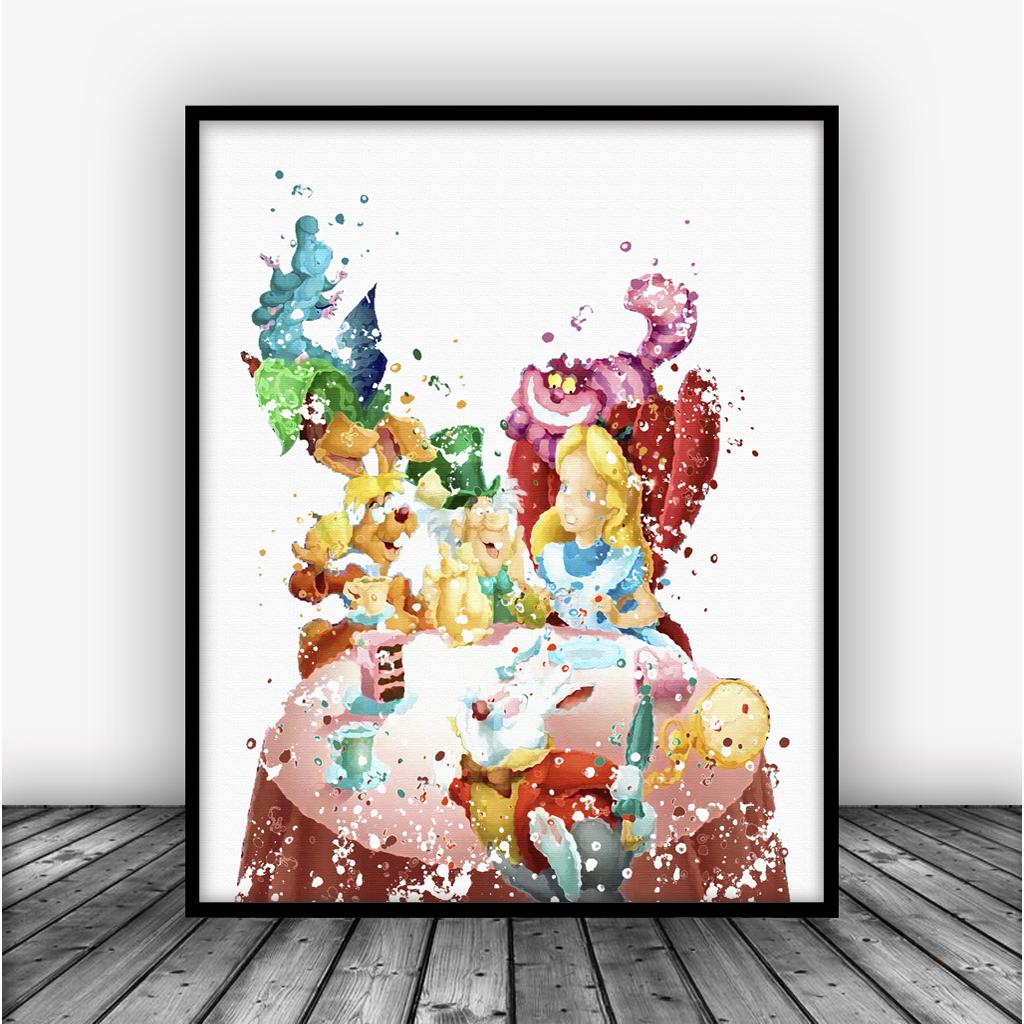 Alice in Wonderland Tea Party Art Print Poster From $10.00  #DisneyDecor #AllPrints #GirlsRoom #Decor #Disney #KidsDecor #Girls #Art #GirlsDecor #DisneyPrint