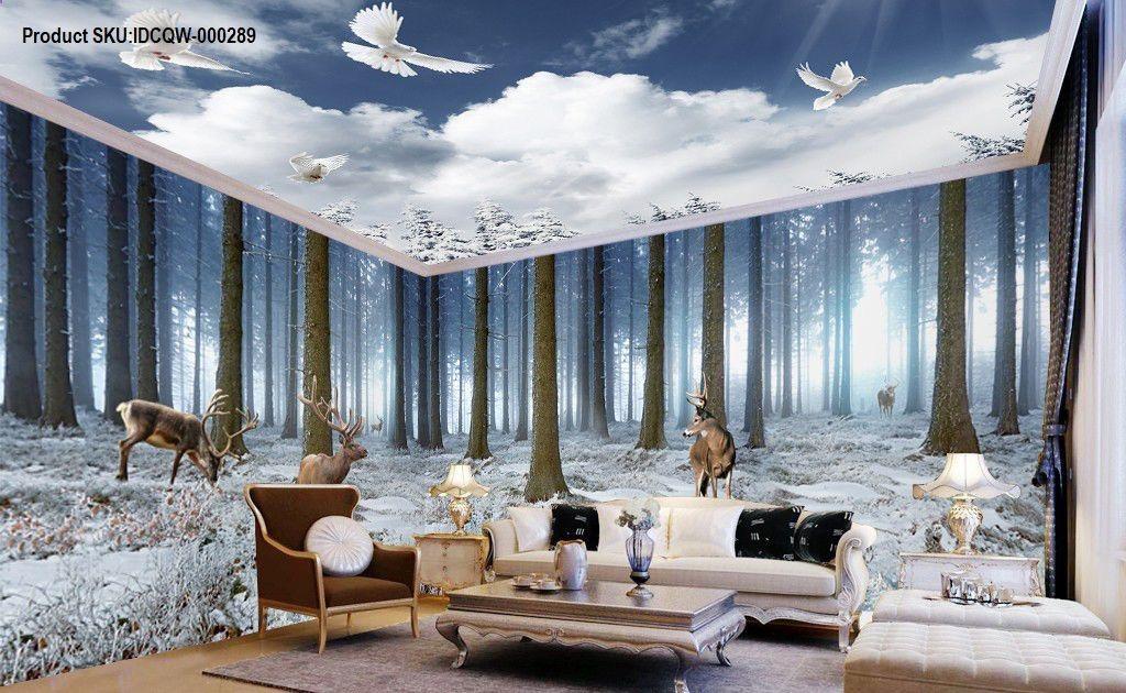 3D Winter Forest Erk Entire Living Room Bedroom Wallpaper Wall Mural