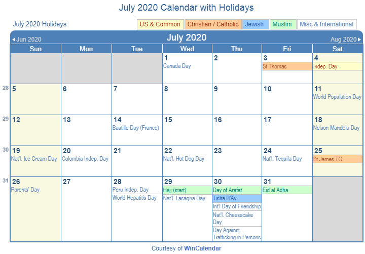 July 2020 Calendar With Holidays In Usa Uk Canada India July