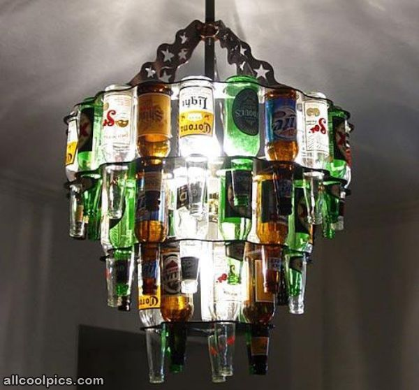 Diy unique chandelier from bottles unique chandeliers pinterest the beer bottle chandelier is the ultimate lighting source for a home bar or enclosed patio made from real beer bottles the beer bottle chandelier is a aloadofball