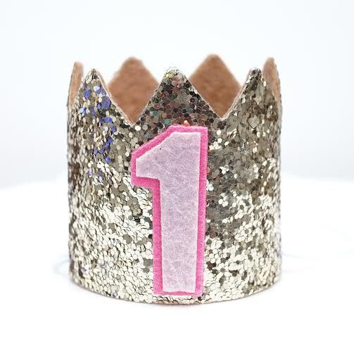 Gold Glitter Sparkles Pink 1st Birthday Girl Hat Party