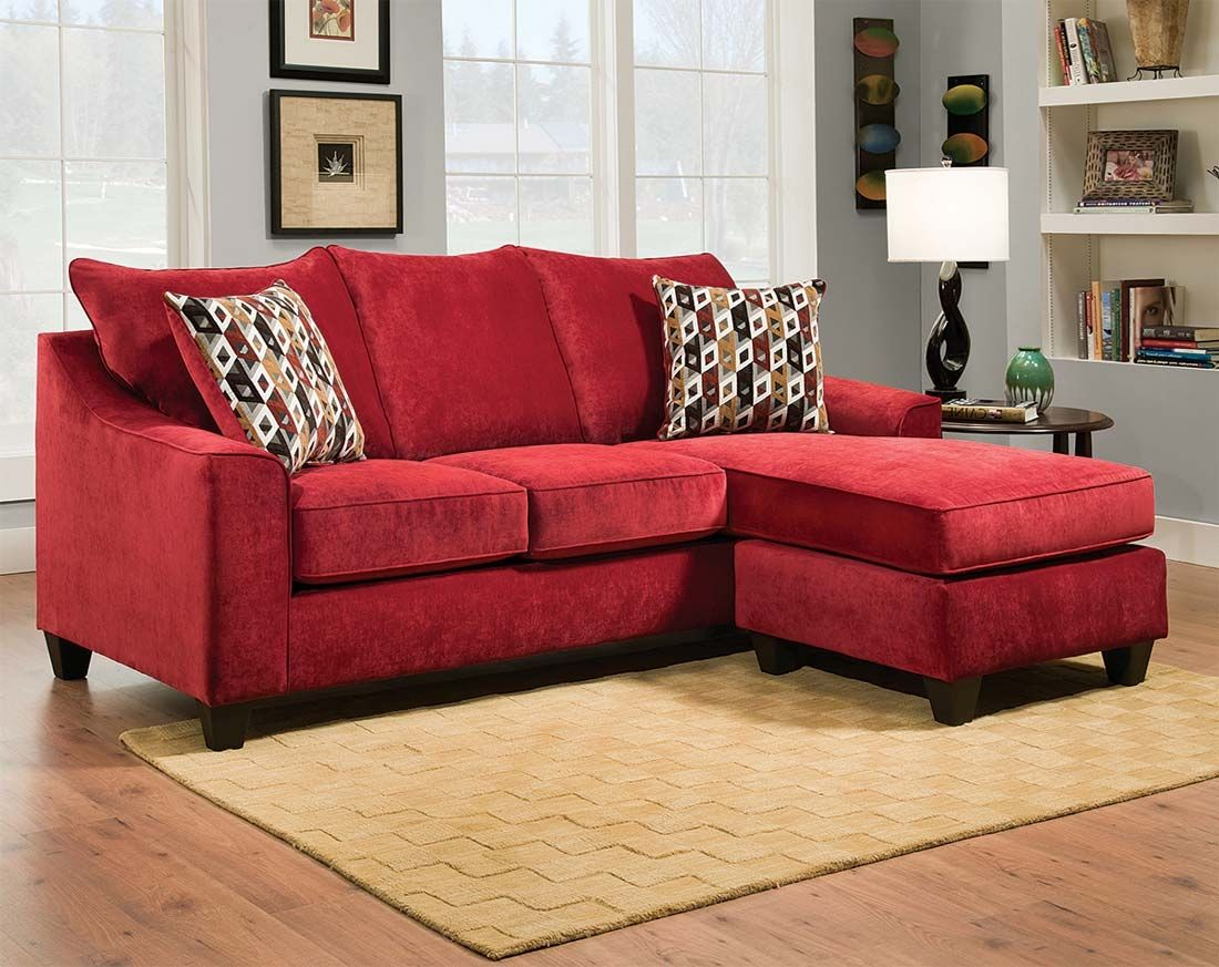Red Microfiber Sectional Sofa With Chaise