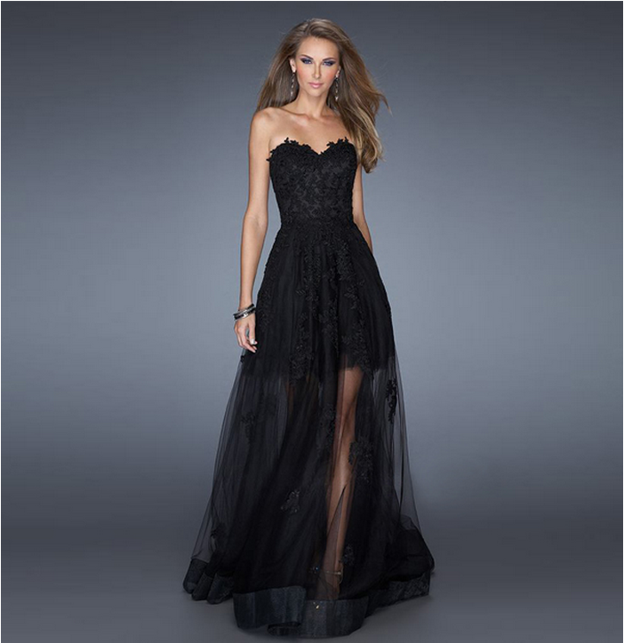 Black Prom Gowns Long Lace Evening Dress Fashion Formal Dress ...