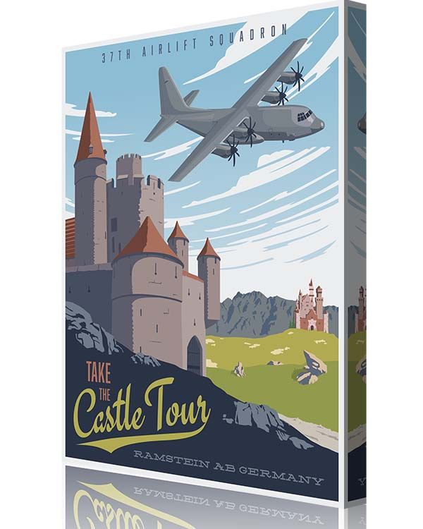 "Share Squadron Posters for a 10% off coupon! Ramstein AB C-130J ""Take the Castle Tour"" 37th AS #http://www.pinterest.com/squadronposters/"
