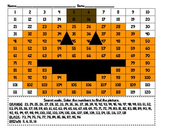 Secret Code Number Recognition Hundreds Charts To 120 Halloween Hidden Picture Math Time Fall Math Hundreds Chart