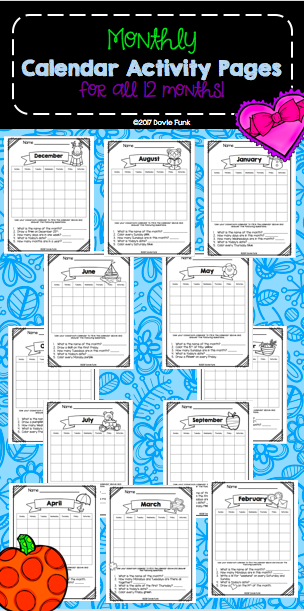 Monthly Calendar Worksheets For First And Second Grade  Calendar