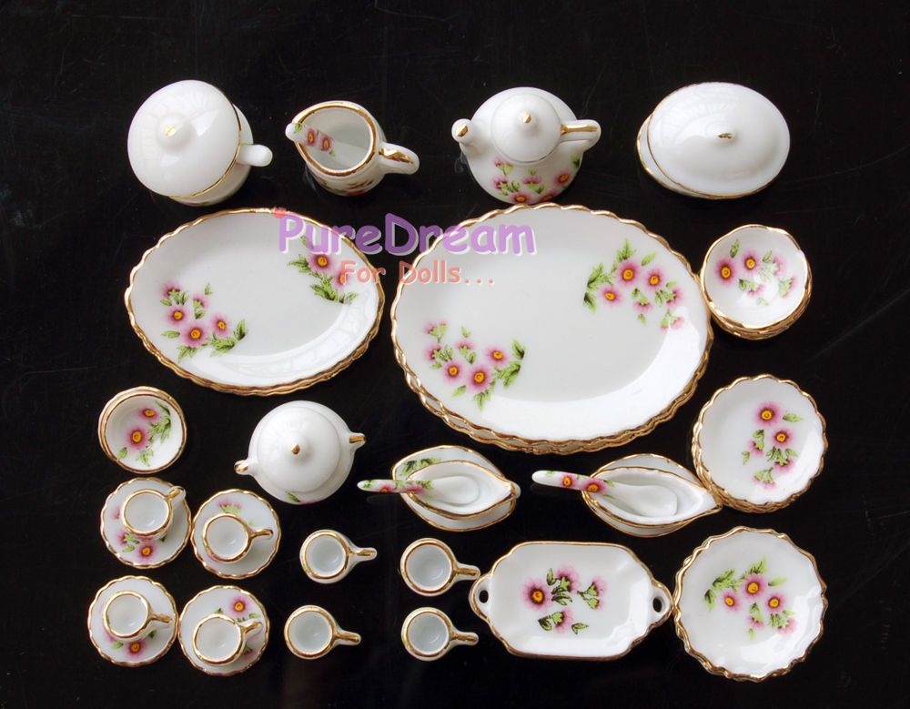 Dollhouse miniature accessories 1:12 Pink /& Green 3 pcs Ceramic Dinner Set