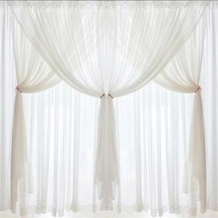 DJ Korean Princess Luxury White Lace Custom Curtains Voile 3 Layer Curtain Wedding Home Textile