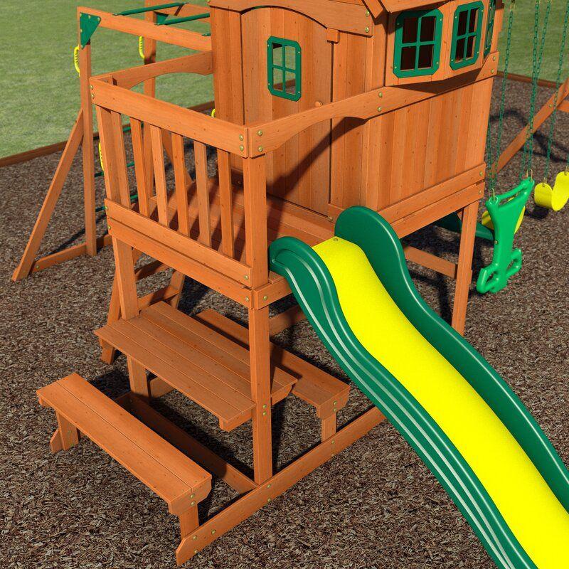 Springboro all Cedar Swing Set in 2020 | Wooden swing set ...