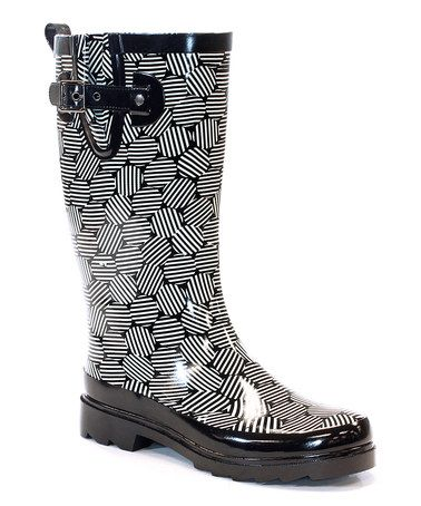Look what I found on #zulily! Black Stripe Dot Rain Boot #zulilyfinds