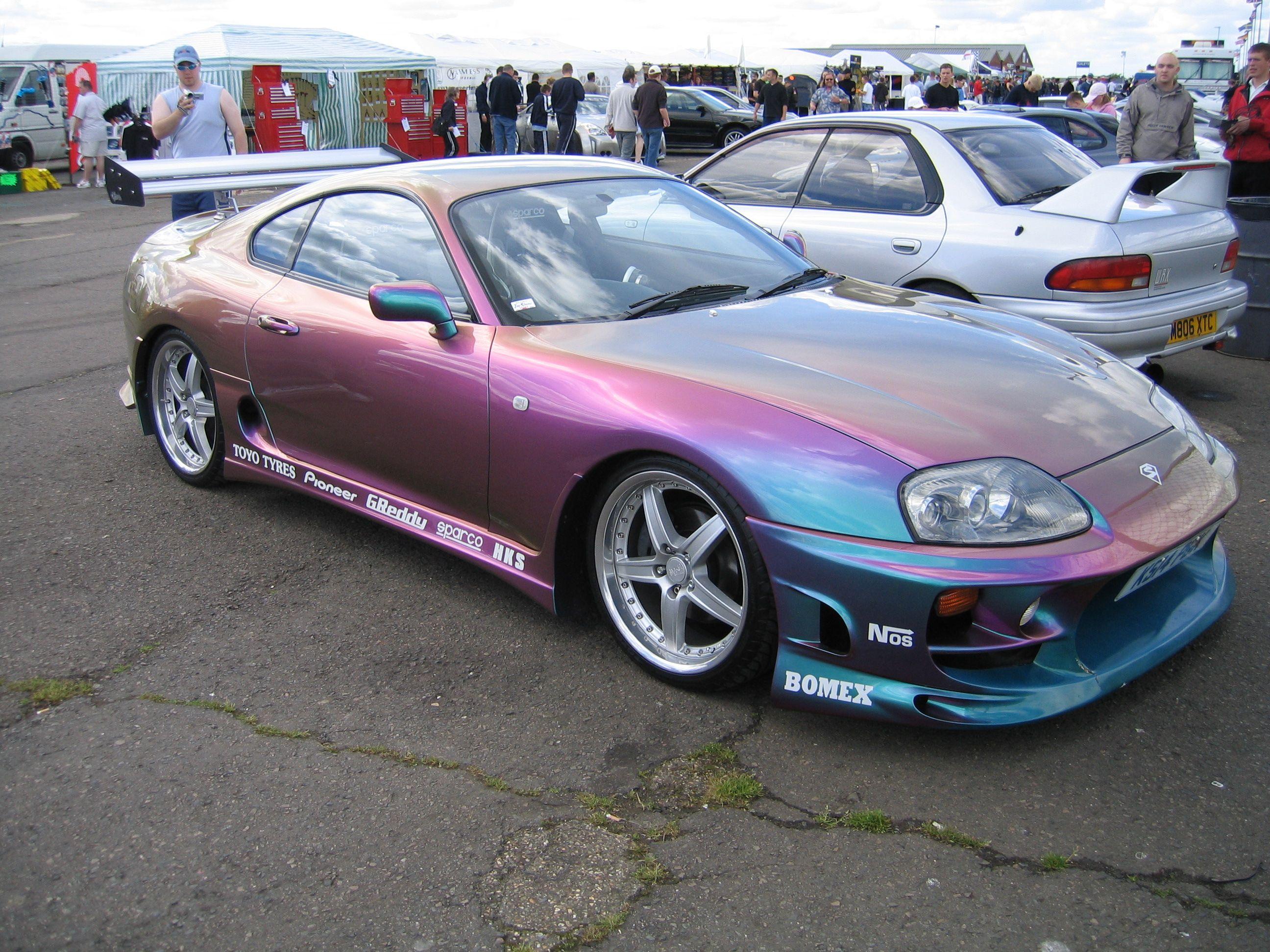 A Pearlescent Toyota Supra.