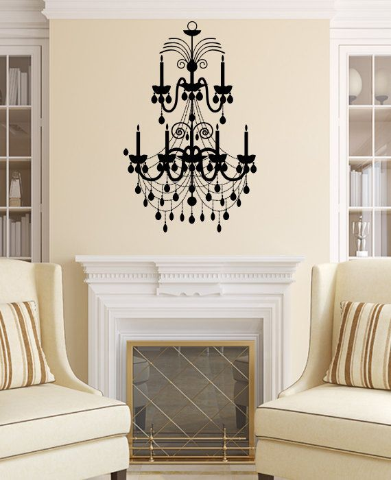 Chandelier wall decal vinyl sticker decals art home decor mural chandelier wall decal vinyl sticker decals art home decor mural chandelier light vintage candles living room aloadofball Gallery
