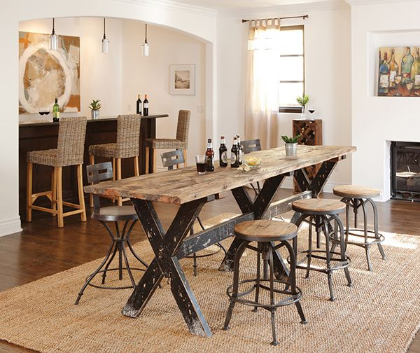 Rustic Pub Table Long Reclaimed Wood Console