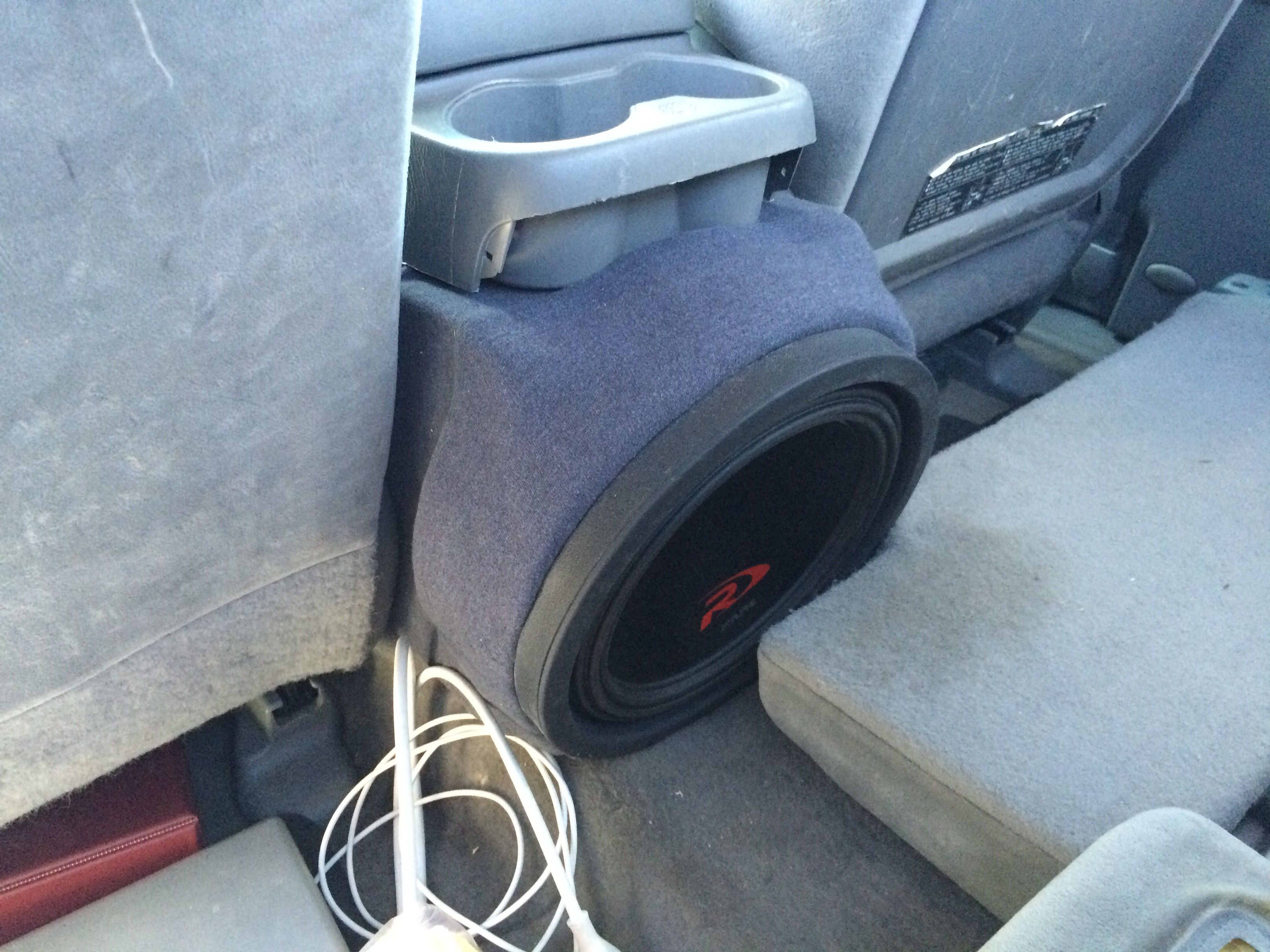 Subwoofer Box I Made To Fit The Center Console Of A 2nd Gen Toyota Tacoma Car Audio Fabrication Truck Audio Car Console