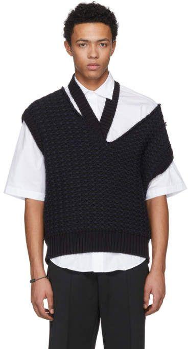 044c3f88e2aff1 Raf Simons Black Cropped Knit Vest