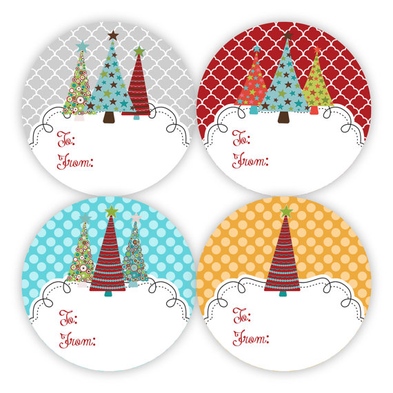 Christmas Gift Tag Stickers Grey Red Turquoise By Purpleberryink 6 50 Christmas Tree Gift Tags Christmas Gift Tags Christmas Stickers