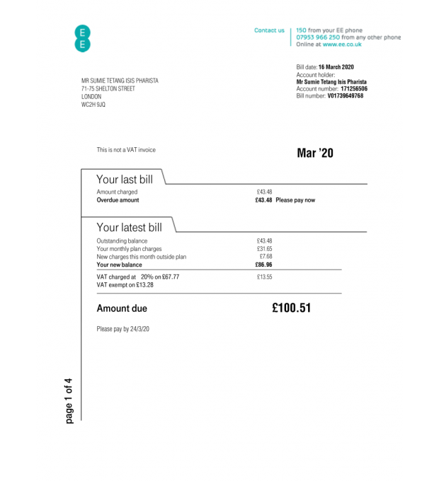 Ee Wireless Uk Eu Doctors Note Id Card Template Bill Template
