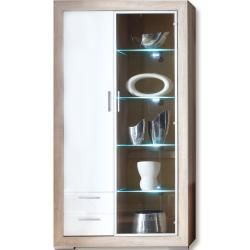 Photo of Vitrine – Sonoma Eiche-weiß – Led-beleuchtung Roller