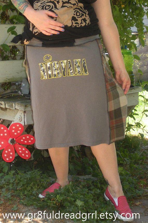 Nirvana Grunge Flannel Skirt Seattle Kurt by gr8fuldreadgrrl, $40.00