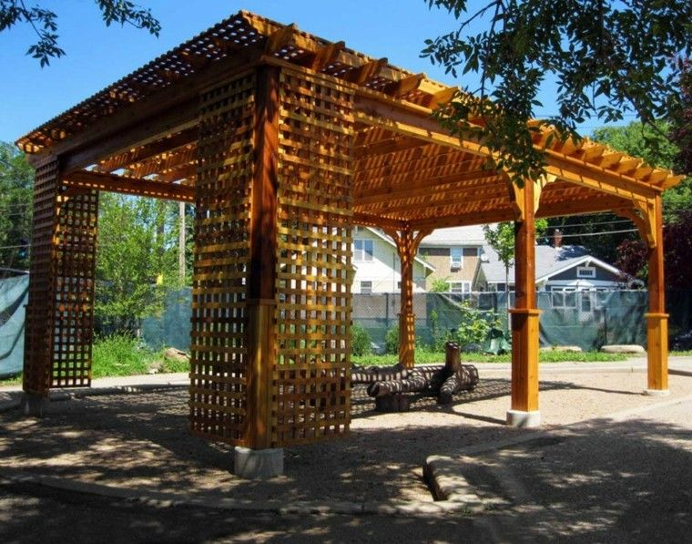 diseo pergola madera grande jardin - Pergolas Madera