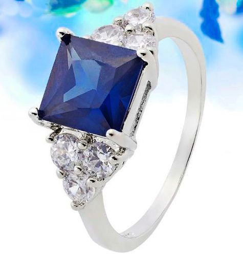 'Lab created Sapphire ring size 6 Princess Cut' is going up for auction at  7pm Thu, Feb 28 with a starting bid of $6.